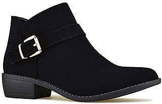 Women's Round Toe Low Heel Side Zipper Ankle Booties Western Shoes GF