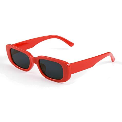 Long Keeper Occhiali da sole rettangolari UV400 protezione occhiali da guida retrò per le donne (Red Black)