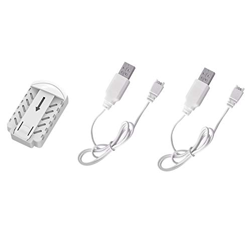 HASAKEE 1PCS 3.7V 350mAh batteria Li-Po + 2PCS cavo di ricarica USB per Drone Q7