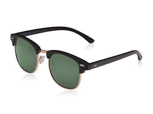 LUENX Men Semi Rimless Polarized Sunglasses UV 400 Protection Grey Green Lens 51MM