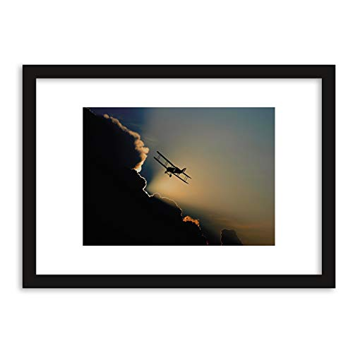 GaviaStore Prenten en schilderijen van de hoogste kwaliteit - Vliegtuig - met lijst 70x50 cm - afbeelding beeld geschilderd beschilderd foto poster meubelen woondecoratie art prints woonkamer hal muurschilderingen omlijst ingelijst
