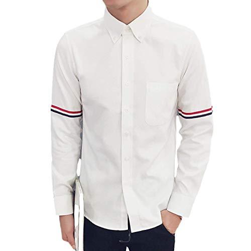 Camisa de Manga Larga para Hombre Otoño Nueva Camisa de Manga Larga Ligera y cómoda de Gran tamaño Camisa Holgada Informal con Costura Estampada XXL