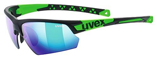 uvex Unisex– Erwachsene, sportstyle 224 Sportbrille, black mat green/green, one size
