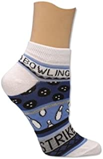 Ladies Bowling Theme Socks by Master (One Size Fits Most, Blue)