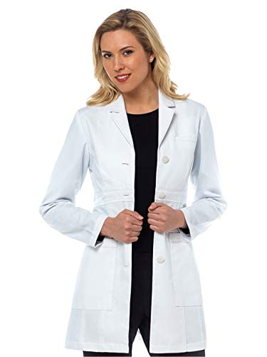 Med Couture Boutique Women's Tailored Mid Length Lab Coat, White, 10