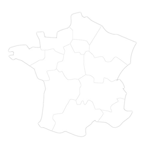 Maildor – wit een stuk 2 vormen reuzen met decoratie, kaart van Frankrijk, gb024 C