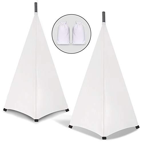 Dofilachy - Funda para pies de enceñido, tela para altavoces de elastano extensible, funda para trípode, iluminación con bolsa de viaje, ideal para DJ móviles (2 unidades), color blanco
