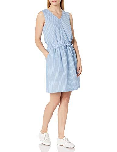Amazon Essentials Women's Sleeveless Relaxed Fit Linen Dress, French Blue Pinstripe, Medium