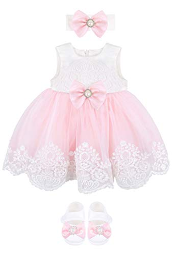 Taffy Baby Girl Newborn Pink Embroidered Princess Pageant Dress Gown 6 Piece Deluxe Set 3-6 Months