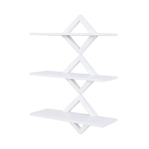 Danya B Diamonds 3-Level Shelving System – Decorative Floating Shelves –Wall Mount – White
