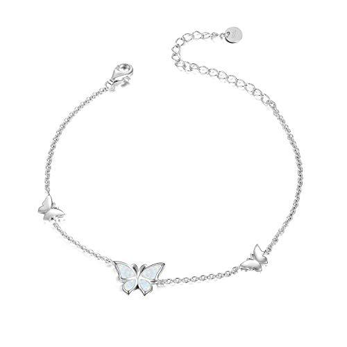 WINNICACA Schmetterling Opal Armband S925 Sterling Silber Weißgold Armreif Schmuck für Frauen Mädchen Geschenke
