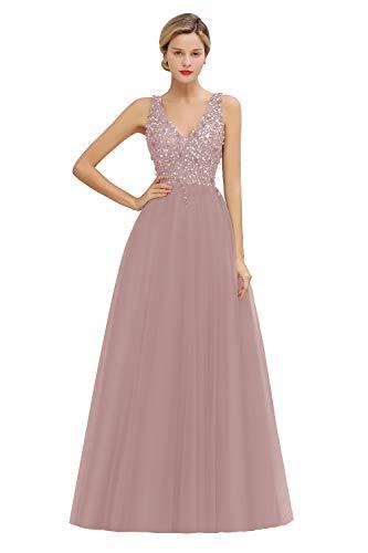 MisShow Damen elegant Ballkleider Tief V Ausschnitt Tüll Abendkleid Maxilang Abschlusskleid Altrosa 32