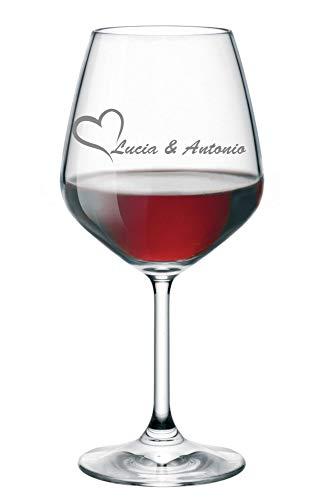 Calice da Vino Personalizzato con Nome Incisione Innamorati (Nomi della Coppia) - Idea Regalo Amore - Regali Originali - Bicchiere in Vetro Chiaro, ca 500ml