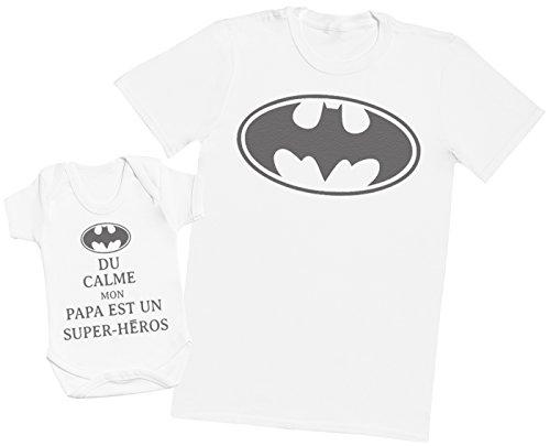 du Calme Mon Papa est Un Super-héros Batman - Ensemble Père Bébé Cadeau - Blanc - M & 18-24 Mois