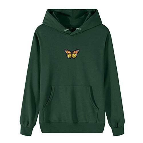 TWIFER Damen Tie-Dye-Schmetterlingsdruck Kapuzenpullover Herbst Winter Hoodies Casual Sweatshirt Pullover Oberteile Frauen Langarmshirt