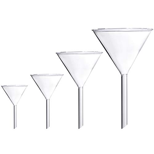 Young4us Glass Funnel Set, 4 Pcs Lab Borosilicate Glass Funnels, 100mm (170mm Length), 75mm (130mm), 50mm (90mm) & 40mm (70mm) Diameter