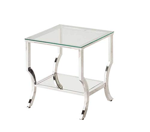 Coaster 720337 Square End Table with Mirrored Shelf Chrome, Chrome/Tempered Glass