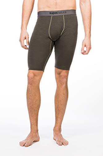 super.natural Kurze Herren Funktions-Unterhose, Mit Merinowolle, M BASE SHORT TIGHT 175, Größe: M, Farbe: Khaki/Beige