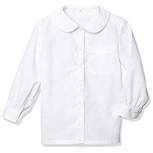 [セシール] スクールシャツ 長袖ブラウス 形態安定シャツ 防汚機能 ネーム札 ネームホルダー付き TH-1153 ガールズ ホワイトB(丸衿) 日本 130 (日本サイズ130 相当)