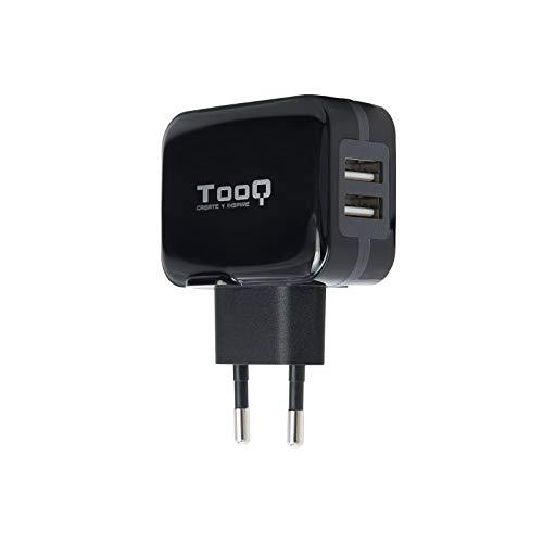 TooQ TQWC-1S02 - Cargador de pared con 2 x USB (5V - 3.4 A, 17 W), con tecnologia AiPower, para iPad / iPhone / Samsung / Tablets / Smartphones, color NEGRO