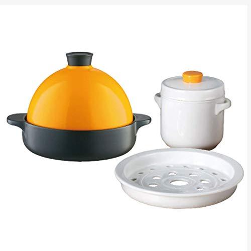 GYCS Marokko ne bleifreies Kochgeschirrset Slow Cooker 22,5 cm 1300 ml Hochtemperatur-Keramik-ne-Topf mit Dampfschale 600 ml Eintopf