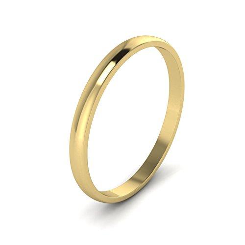 Anillo de boda unisex de oro amarillo macizo de 9 quilates, forma de D, pulido de 2 mm (G)