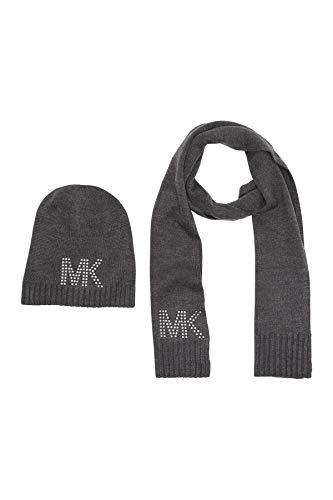 Michael Kors Set I bufanda y gorro de lana acrílica de alta calidad I gris I cinta de regalo I mujer 2368