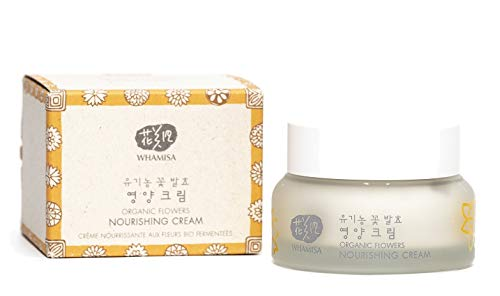 WHAMISA Organic Flowers Nourishing Cream - Korean Skin Care Gesichtscreme Damen für intensive Feuchtigkeit Nährstoffe und Reduktion der Hautalterung - Koreanische Tagespflege Sanft Fermentiert - 50ml