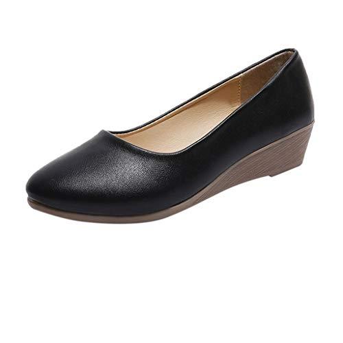 Sillor Arbeitsschuhe Damen Einfach Tragbare Erbsen Schuhe Einfarbig Keile Halbschuhe Casual Bequem Slip-On Bootsschuhe