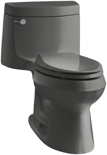 KOHLER K-3828-58 Cimarron Comfort Height One-Piece Elongated 1.28 GPF Toilet, Thunder Grey