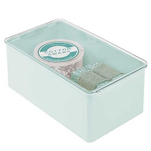 mDesign Organizer cosmetici impilabile – Pratico contenitore plastica per cosmetici – Pratica scatola con coperchio a ribalta per conservare accessori bagno – verde menta/trasparente