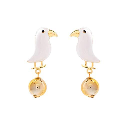 SMEJS - Pendiente colgante para mujer, bonito pájaro, de metal, con forma de bola redonda, pendiente creativo, simple, salvaje, largo, pendiente, joyería, regalos (blanco)