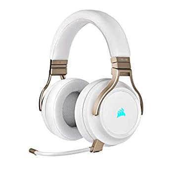 Corsair Virtuoso RGB Wireless Gaming Headset - High-Fidelity 7.1 Surround Sound w/Broadcast Quality Microphone - Memory Foam Earcups - 20 Hour Battery Life - Works with PC PS5 PS4 - Pearl