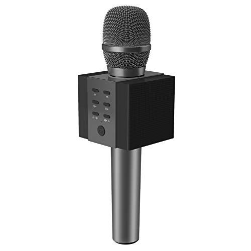 TOSING 008 Microfono Karaoke Bluetooth wireless, volume maggiore 10W, più basso, 3-in-1 Microfono portatile con doppio altoparlante per Android/PC (Nero)