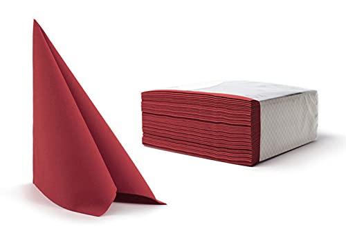100 toallas desechables para invitados de lino, servilletas, papel de mano, para bodas, restaurante, cocina, fiestas, 40 cm x 40 cm, paquete de 100 unidades (rojo burdeos)