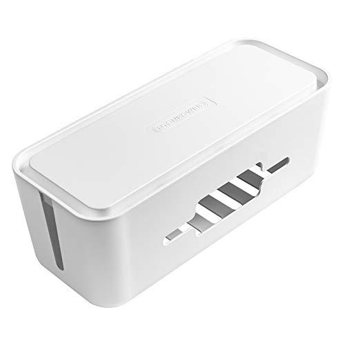NTONPOWER Kabelbox Groß Kabelmanagement Aufbewahrungsbox für Kabelführungs Steckdosenleiste Aus ABS Kunststoff mit Gummifüßen, 43x18x16cm- Schwarz Organizer, Weiß