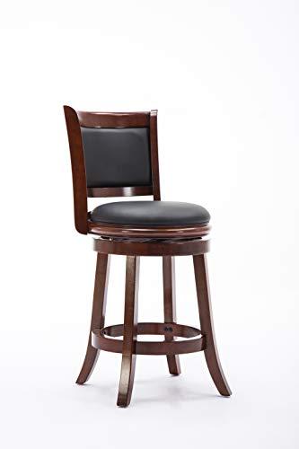 Boraam Augusta Counter Height Swivel Stool, 24-Inch, Cherry Cherry Unfinished Bar Stool