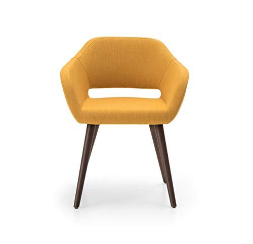 Sienta-T Silla ARI, diseño Atrevido, tapizada en Tela Color Amarillo, con Pata de Madera de Haya Color Nogal Oscuro. 62 x 58 x 76 cm
