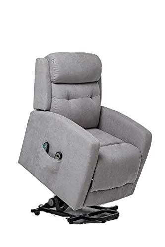 Sillón Relax y Masaje, Sillón Función Power Lift, Sillón reclinable con función Masaje Modelo Rondo SX AF80590S (Gris)