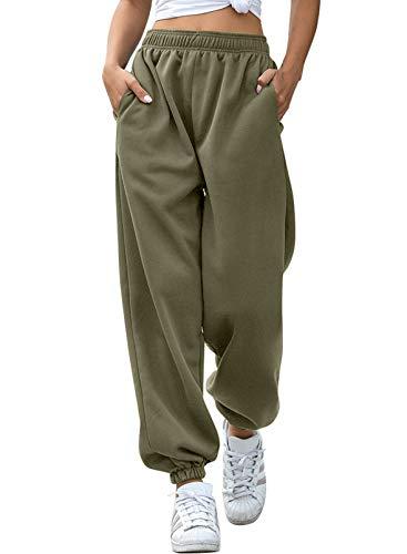 Aleumdr Pantaloni Larghi Donna Pantaloni Harem Pantaloni Hip Hop Lunghi Pantaloni Sportivi Donna Pantaloni Lunghi Casual Pantaloni Danza Pantaloni Yoga Jogging(Verde Militare)