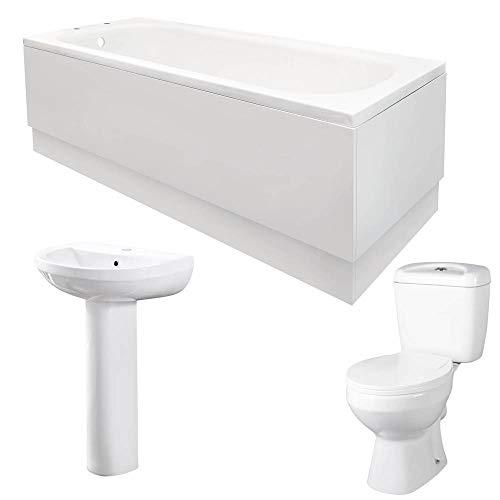 Essential Bathroom Suite 3 Piece Single Ended 1700 Bath WC...
