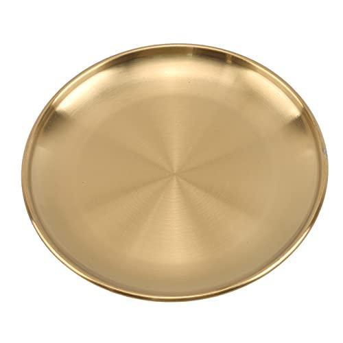 Bandeja de pizza Placas de cena Estilo europeo Dorado Placa de postre Cocina Sirviendo Platos Ensalada Plato redondo Tray Bandeja Bandeja redonda Tablero de pizza (Color : Gold, Plate Size : 14cm)