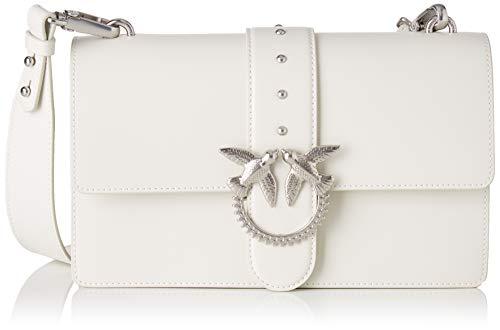 Pinko Love Classic Simply Fl Vitello, Borsa a tracolla Donna, Bianco (WHITE), 7.5x16.5x27 cm (W x H x L)