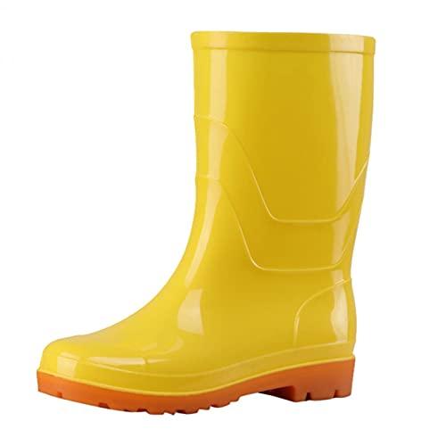 JDGY Halbhoch Gummistiefel Damen Regenstiefel Outdoor Wasserdichte Gummistiefeletten Rutschfeste Gartenschuhe Unisex Frauen Stiefel Low Heel Regenstiefelette
