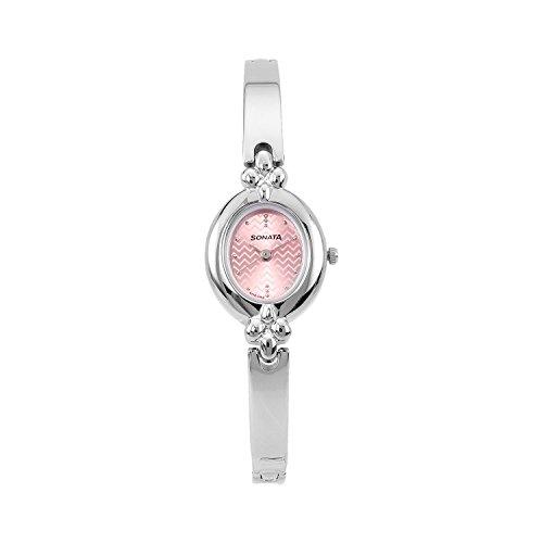 Sonata Analog Pink Dial Women's Watch-8093SM02C
