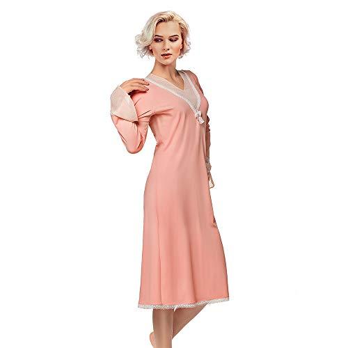 Dames Katoen Lange Mouw Maxi Nachtkleding Elegante en Comfortabele Slaapmode Mooie Kant Decoratie