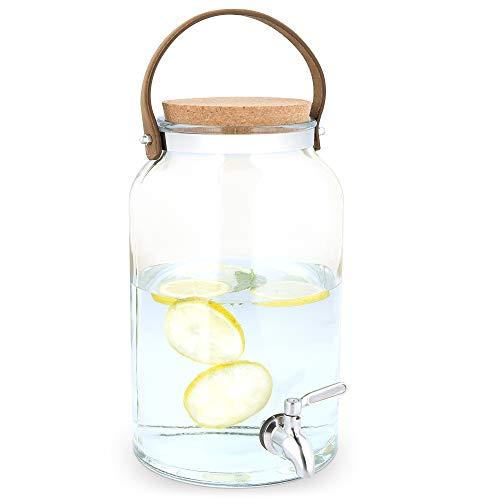 Navaris Dispensador de Bebidas con Grifo - Recipiente de Agua de Vidrio de 5.6 L - Botella de Cristal con Tapa y Cierre - Bidón con dosificador y asa