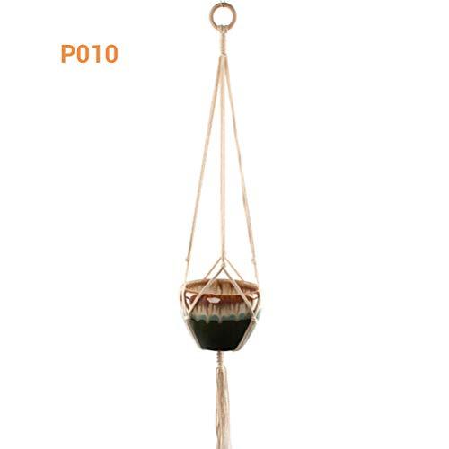 Yissma macramé-plantenhouder, natuurlijke hennep-cords hangende mand bloempot plant kledinghanger linnen touw nettas pannenlap