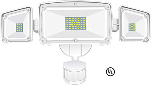 Motion Sensor Light Outdoor, BEACON 42W 4000LM Ultra Bright LED Flood Lights with 3 Adjustable Heads, LED Security Light, Motion Lights Outdoor, ETL Certified IP65 Waterproof for Garage,Garden