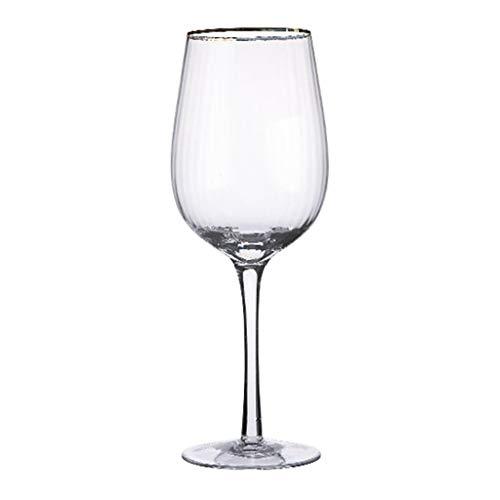 Copa De Vino con Diseño De Borde Dorado De Lujo Mujeres, Hombres, Bodas, Aniversarios, Navidad, Cumpleaños - 500 Ml, Cristal 100% Sin Plomo (Color : Clear, Size : 7.3 * 22.6cm)